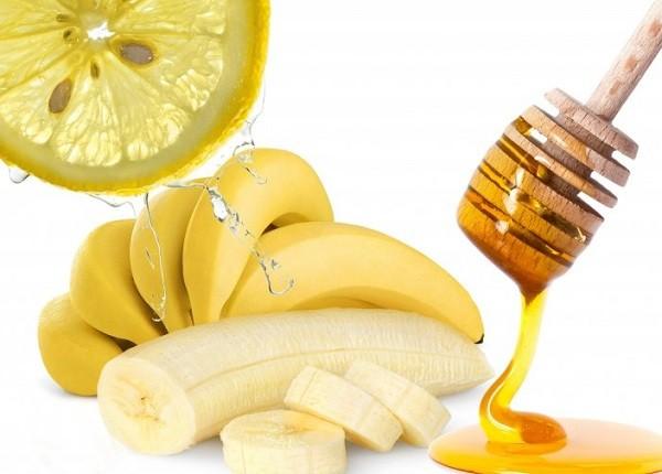 банан, мед и лимон для лица